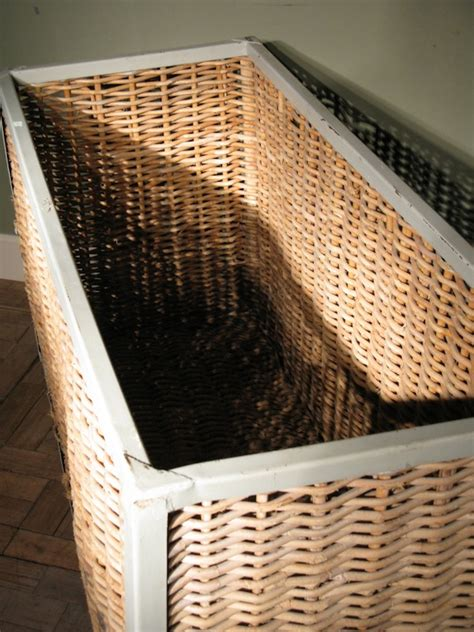large antique steel frame wicker side laundry basket