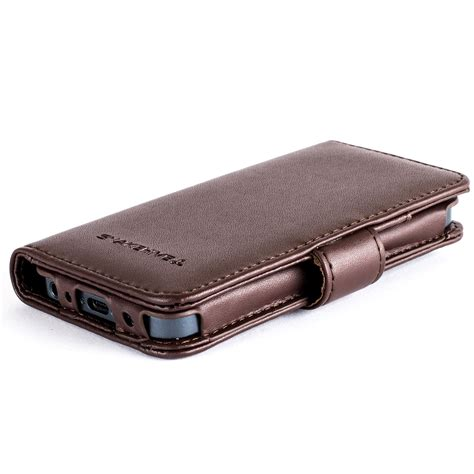 For Iphone 5 5s Flip Wallet Cover Leather Brown Black snakehive 174 premium leather wallet flip cover for