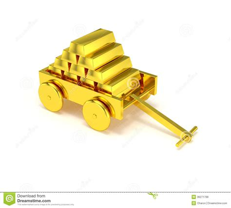 golden house miniature gold toy stock illustration gold bar in golden cart isolated royalty free stock photos