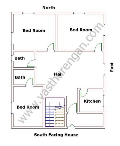 house plan for south facing plot with two bedrooms south facing houses vastu plan 2 vasthurengan com