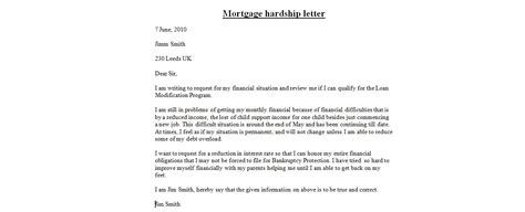 Mortgage Support Letter Hardship Letters Business Letter Exles