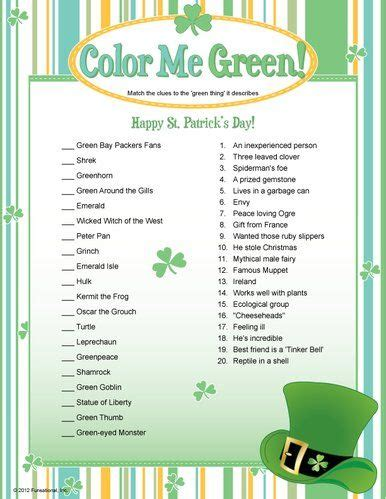st trivia st s day printable color me green
