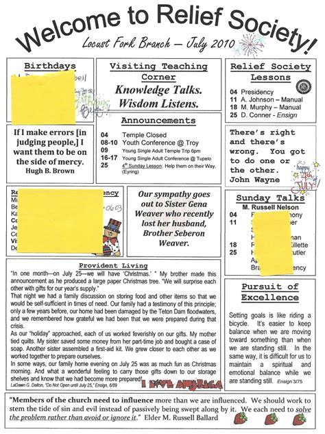 Homemaker S Journal Church Newsletter Ideas Relief Society Newsletter Template Free