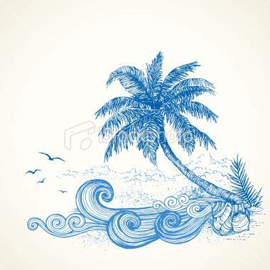 Beach Themed Drawing   tropical beach drawing royalty free stock vector art
