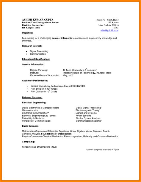 Resume Format Undergraduate 6 How To Write A Cv For Undergraduate Students Daily