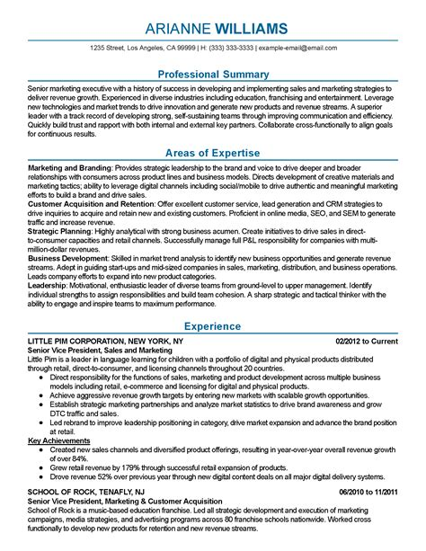 Retention Specialist Sle Resume by Professional Senior Marketing Executive Templates To Showcase Your Talent Myperfectresume