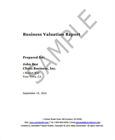 valuation report templates 9 free word pdf format