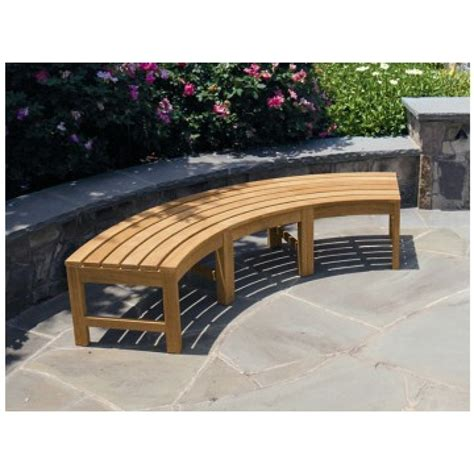 curved teak garden bench fsc certified teak curved backless garden bench