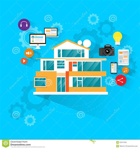 electronic design house smart house technology with electronic device stock vector