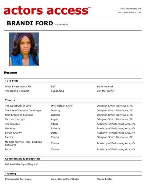 create your own acting resume 2