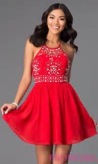 short red halter dress by masquerade