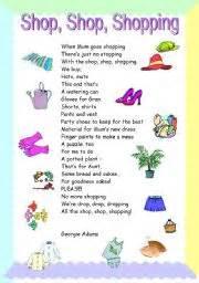 english worksheet shopping poem hout
