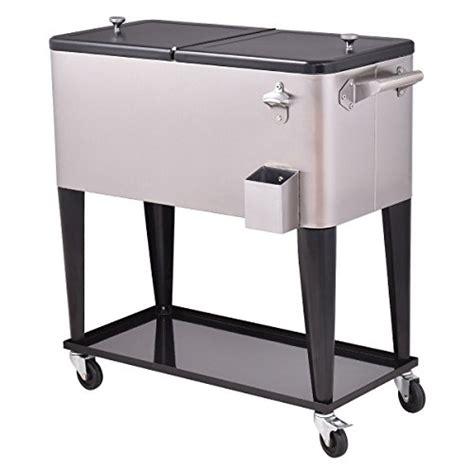 stainless steel beverage cooler cart giantex patio cooler rolling cart outdoor portable