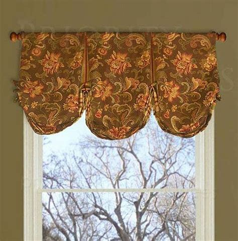 pouf valance curtains brown jacobean box pleated balloon valance with deep poufs