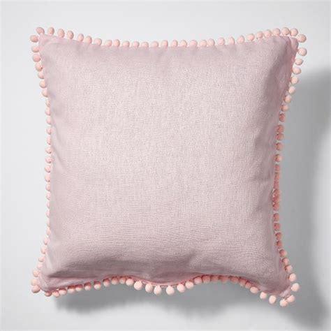 pink bedroom cushions linen cotton pom pom cushion 45cm pink target australia