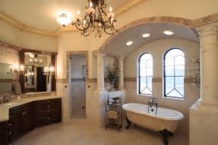 mediterranean style bathrooms mediterranean master bathroom with chandelier by