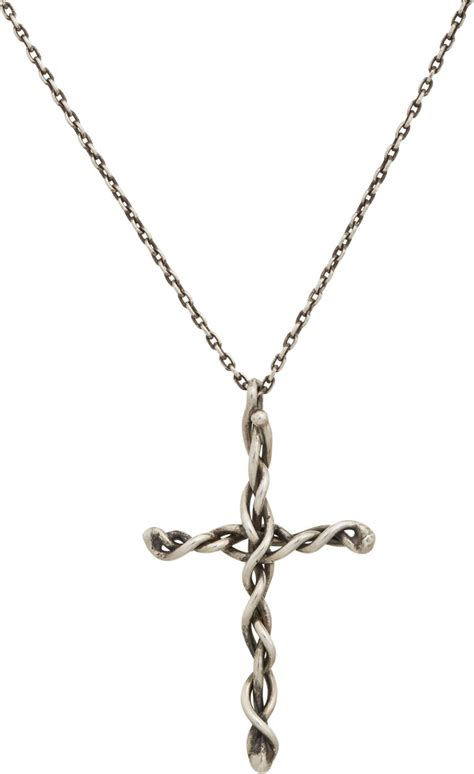 dean harris sterling silver cross pendant cable chain in