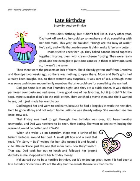 reading comprehension test for 4th grade late birthday reading comprehension worksheet