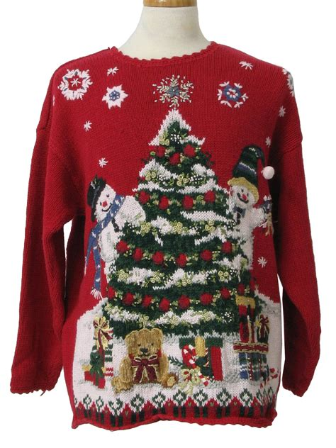 ugly christmas sweater fashion bug unisex red