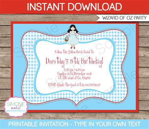 Wizard Of Oz Party Invitations Template Birthday Party Where The Things Are Birthday Invitation Template
