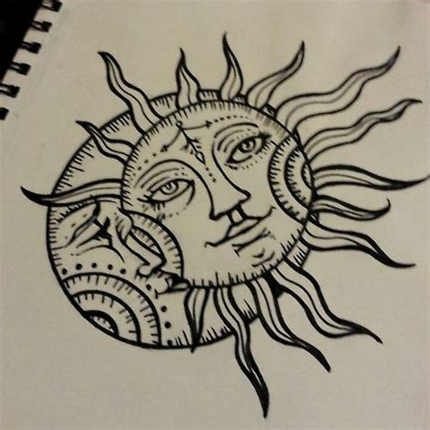 sun drawing tattoo moon design ink pinterest tattoo