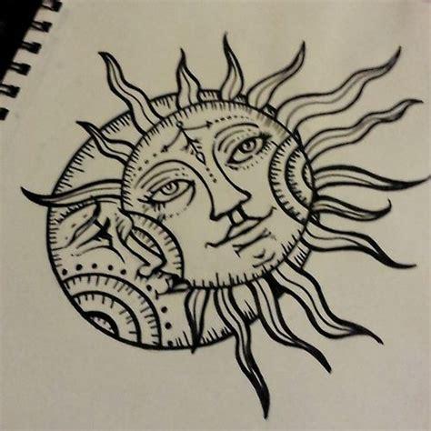 sun drawing tattoo moon design ink pinterest tattoo