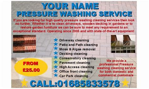 pressure washing business card templates jet pressure washing leaflets flyer business cards