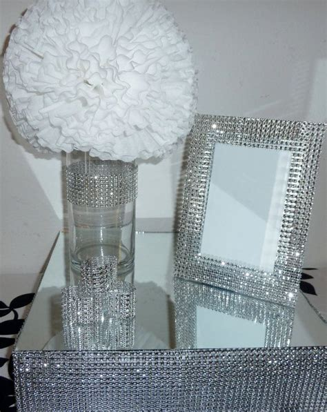 silver frames for wedding table numbers 5x7 silver bling faux rhinestone wedding frame