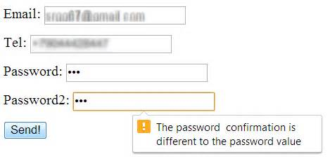 javascript password pattern check html 5 input check the validation message appears only