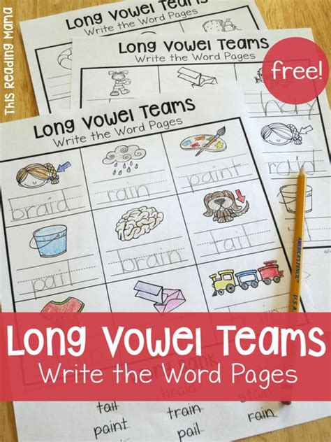 vowel pattern activities long vowel teams worksheets write the word pages
