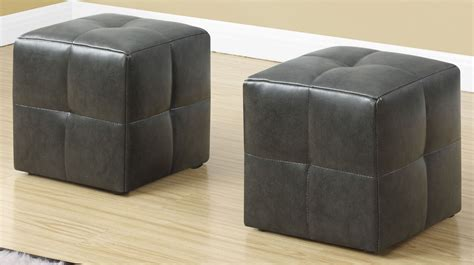 Gray Leather Ottoman Charcoal Grey Leather Juvenile Ottoman Set Of 2 8163 Monarch