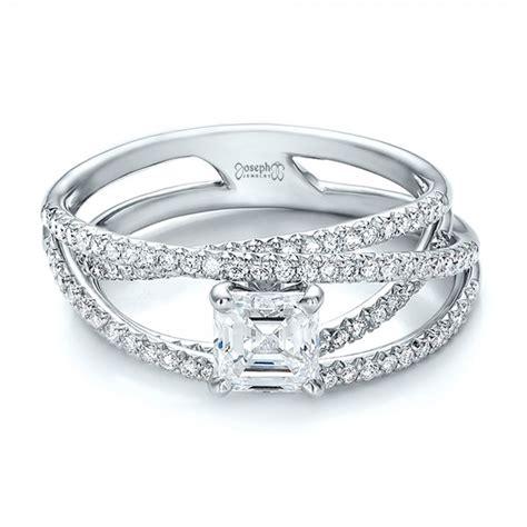 custom pave multi band engagement ring 100612