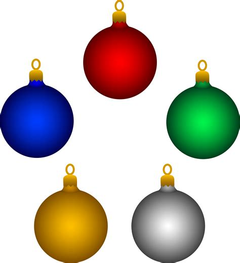 five shiny christmas tree ornaments free clip art