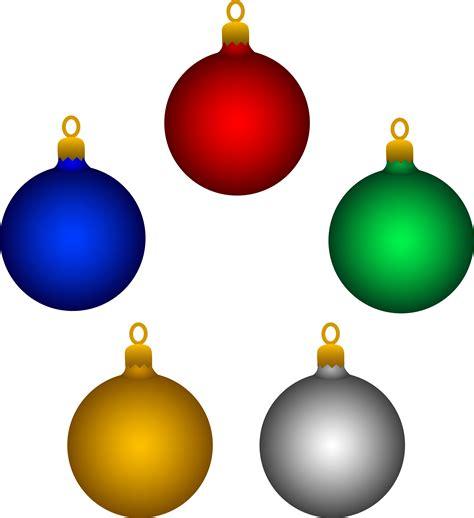 Five Shiny Christmas Tree Ornaments - Free Clip Art Free Christmas Ornaments Clip Art