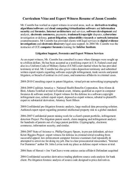 expert witness resume exle jason coombs expert witness cv