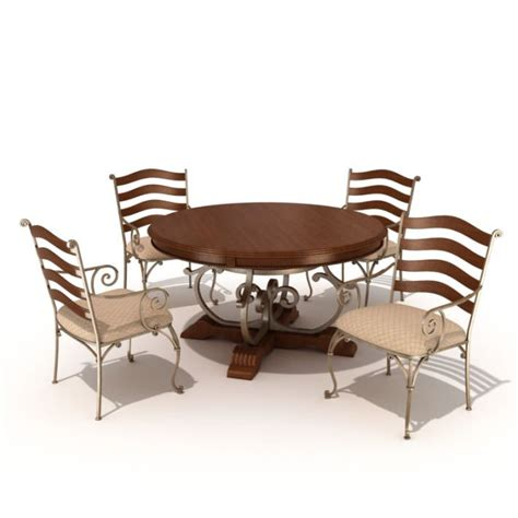 Wood Table Metal Chairs by Metal Wood Table Chair Set 3d Model Cgtrader