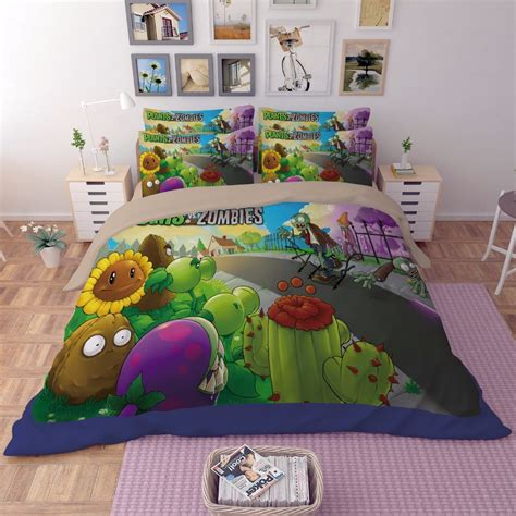 zombie bed sheets 2017new 3d anime boys bedding sets plants vs zombies