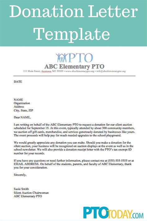 Donation Letter For Booster Club Use This Template To Send Out Requests For Donations To Support Your Pto Pta