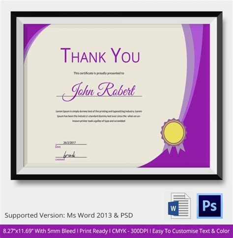 certificate of thanks template thank you certificate template 10 free pdf psd vector