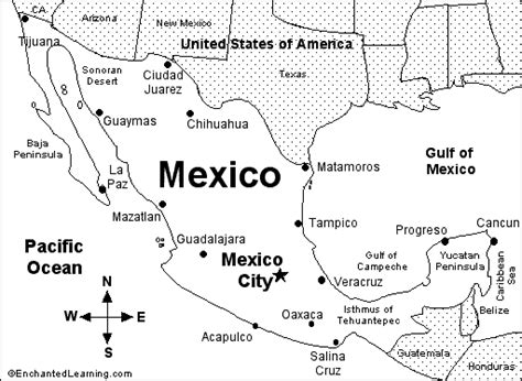 printable map of us and mexico america enchantedlearning