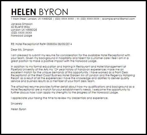cover letter for hotel receptionist without experience Look at a professional receptionist resume sample to make sure you ve cover letter samples cover letter stress this experience on your receptionist.