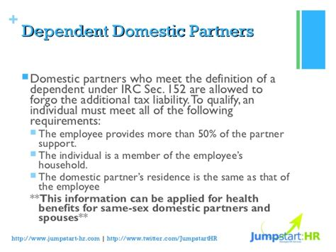 section 152 dependent domestic partnership health benefits and tax implications