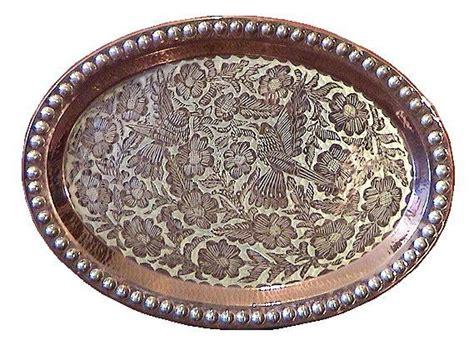metal ottoman tray folk art oval silver copper tray persian ottoman