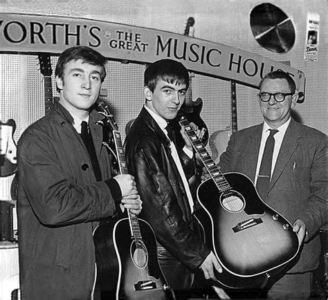 liverpool house music john lennon and george harrison receive gibson j 160e