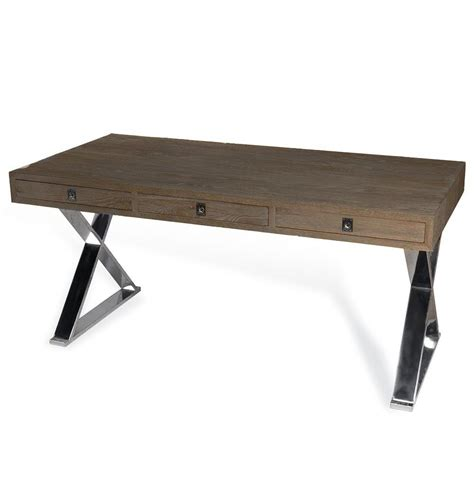 wood and steel desk menton modern industrial loft large steel wood desk