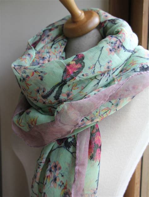 personalised faded bird print scarf by the forest co