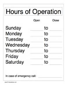 hours template free printable hours of operation sign