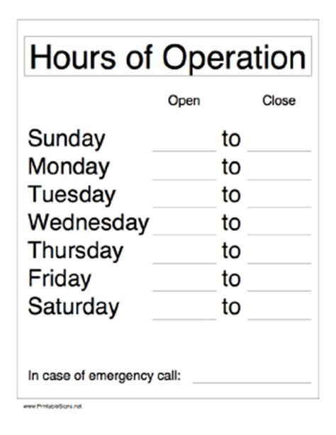 hours sign template free printable hours of operation sign