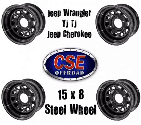 Steel Jeep Wheels Black 15x8 D Window Steel Wheels Jeep Wrangler Yj Tj 1987