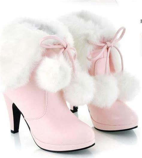 Wedges Baby Pink 4ps 01 tassel fur boots platform pumps boot high